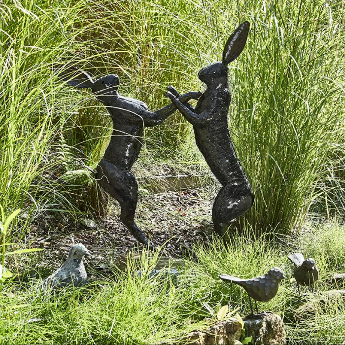 Large Boxing Hares Metal Sculpture