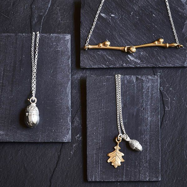 Love Scarlet, Brass Cherry Branch Necklace