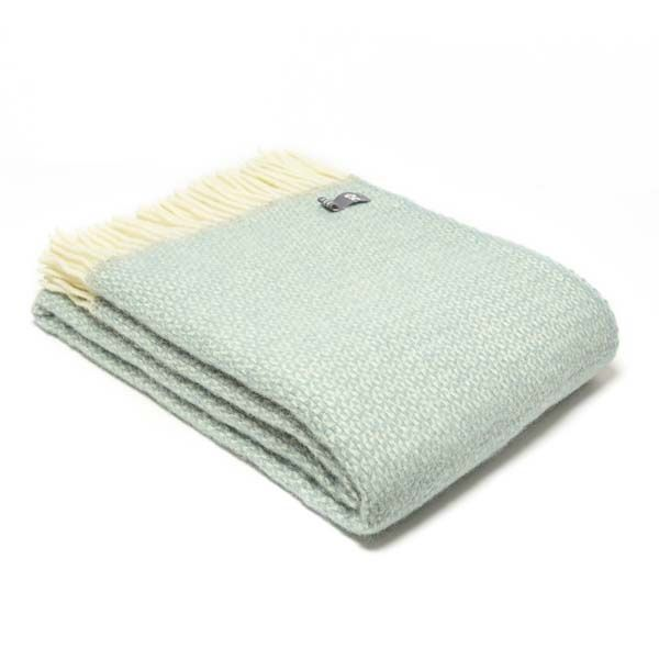 National Trust Illusion Wool Throw, Duck Egg
