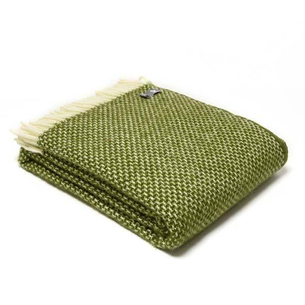 National Trust Twill Green Wool Throw
