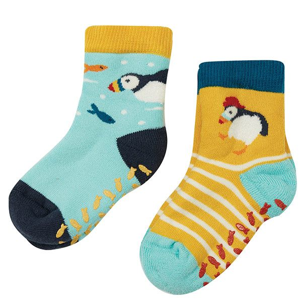 Frugi and National Trust Non Slip Socks, Paddling Puffins, 2 Pack