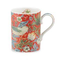 William Morris Strawberry Thief China Mug, Crimson