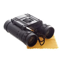 Compact and lightweight black binoculars with the National Trust oakleaf in white near the focus wheel, sitting on a lens cloth