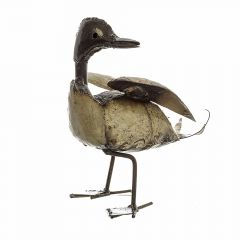 A white metal duck sculpture with slightly raised wings and head turned to the side