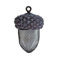 Acorn shaped bird feeder showing how the circular hanging hole and the mesh used to make the acorn