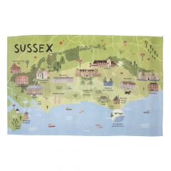 A National Trust Sussex tea towel with illustrations of the properties and towns in the local area