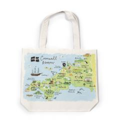 A white canvas bag with a map of Cornwall naming all the towns and villages with pictures of landmarks