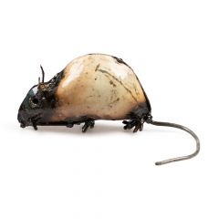 White Metal Mouse Sculpture