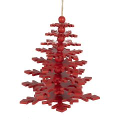 Wobbly Tree Decoration, Red