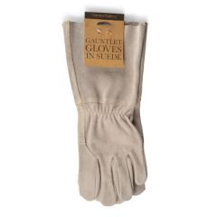 Suede Gauntlet Gloves, Natural