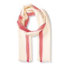 Scarf with Pink Stripe Border