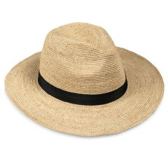 Jute Fedora Hat with Trim