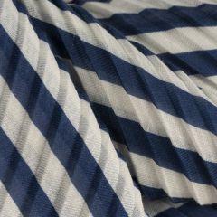 Pleated Stripe Scarf, Navy/White