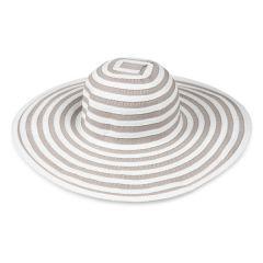 Striped Wide Brim Hat, White/Beige