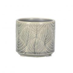 Small Leaf Plant Pot, Grey