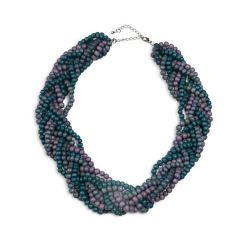 Multi Line Woven Necklace, Grey/Green/Lilac