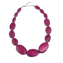 Pebble Row Necklace, Magenta