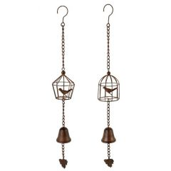 Cast Iron Birdcage and Bell Garden Wind Chime, Assorted