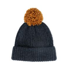 Cable Knit with Pom Hat, Navy/Tan