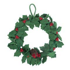 Felt Christmas Holly Wreath with Robin