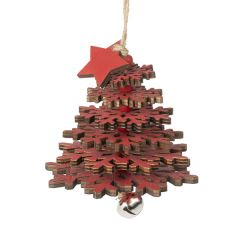 Hanging Wooden Tree Decoration, Red