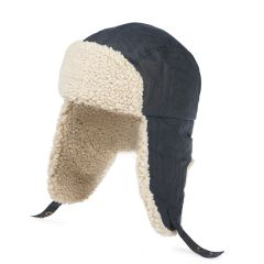Trapper Hat with Shearling Lining, Navy