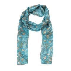 Sheffield Park Seed Heads Silk Scarf, Teal