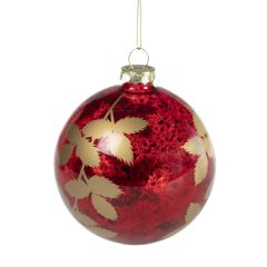 Antique Cherry Red with Gold Leaves Bauble
