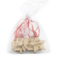 Wooden Christmas Gift Tags, Pack of 6