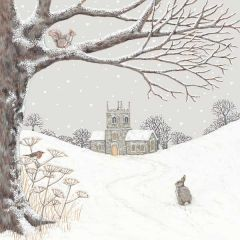 Sally Swannel Church in the Snow Christmas Cards, Pack of 8