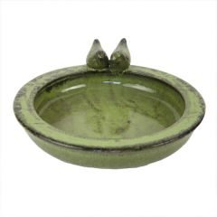 Round Terracotta Bird Bath, Green