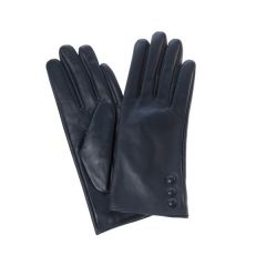 Leather Gloves with Buttons, Navy