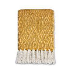 Diamond Weave Throw Yellow