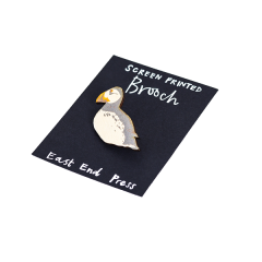 Screen Printed Brooch, Puffin