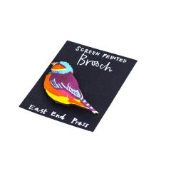 Screen Printed Brooch, Small Bird