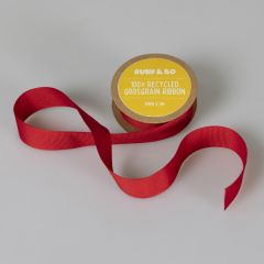100% Recycled Grosgrain Ribbon, Red