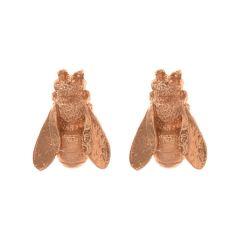 Alex Monroe Honeybee Stud Earrings, Rose Gold Plate