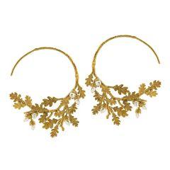 Alex Monroe Acorn Branch Hook Earrings, Gold Plate