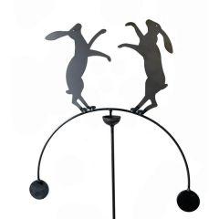 Boxing Hares Wind Rocker Balancing Plant Stake