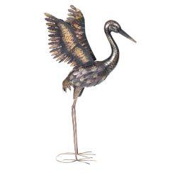 Large Bronze Crane Sculpture