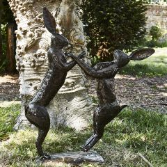 Large Boxing Hares Metal Sculpture