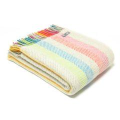 National Trust Fishbone Wool Throw, Multicolour