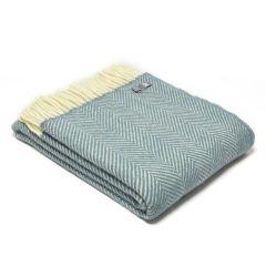 National Trust Herringbone Wool Throw, Petrol Blue