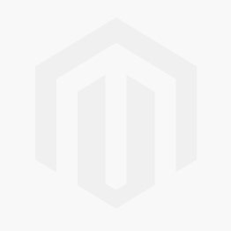 A side profile of the cast iron bunny sculpture, showing his ears pricked up and his feet together