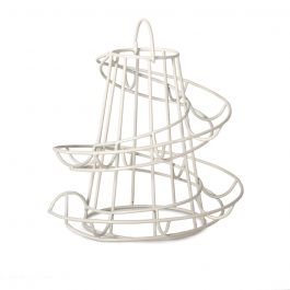 An easy access cream wire egg run, looking like a mini helter skelter, with a loop on the top for lifting