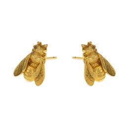 Alex Monroe Honeybee Stud Earrings, Sterling Silver 22ct Gold Plate