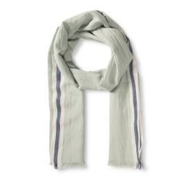 Scarf with Blue Stripe Border