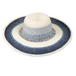 Wide Brim Woven Blue Stripe Hat