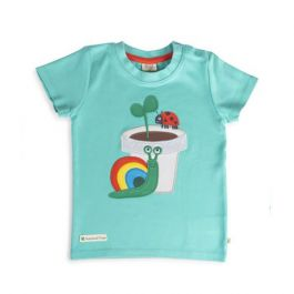 Frugi and National Trust Children's T-shirt, Pacific Aqua/Snail