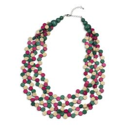 Multi Line Wooden Disc Necklace, Green/Pink/Natural